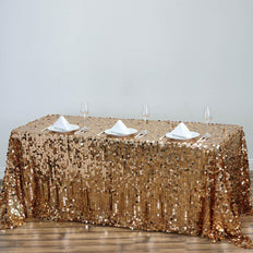 90x156 Gold Big Payette Sequin Rectangle Tablecloth Premium