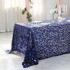 90x156 Navy Blue Big Payette Sequin Rectangle Tablecloth Premium