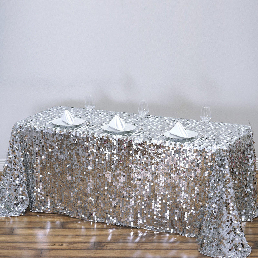 90x156 Silver Big Payette Sequin Rectangle Tablecloth Premium