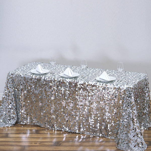 "90""x156"" Silver Big Payette Sequin Rectangle Tablecloth Premium"