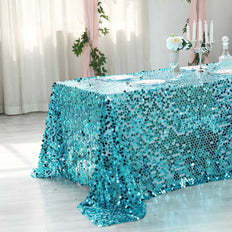 "90X156"" Turquoise Big Payette Sequin Rectangle Tablecloth Premium"