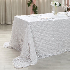 90x156 White Big Payette Sequin Rectangle Tablecloth Premium