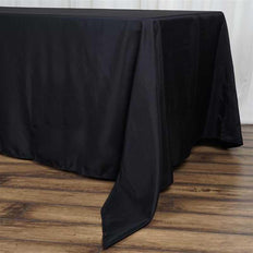 "72""x120"" Black Polyester Rectangular Tablecloth"