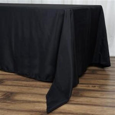 "72x120"" Black 220 GSM Seamless Premium Polyester Rectangular Tablecloth"