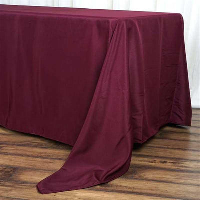 "72""x120"" Burgundy Polyester Rectangular Tablecloth"
