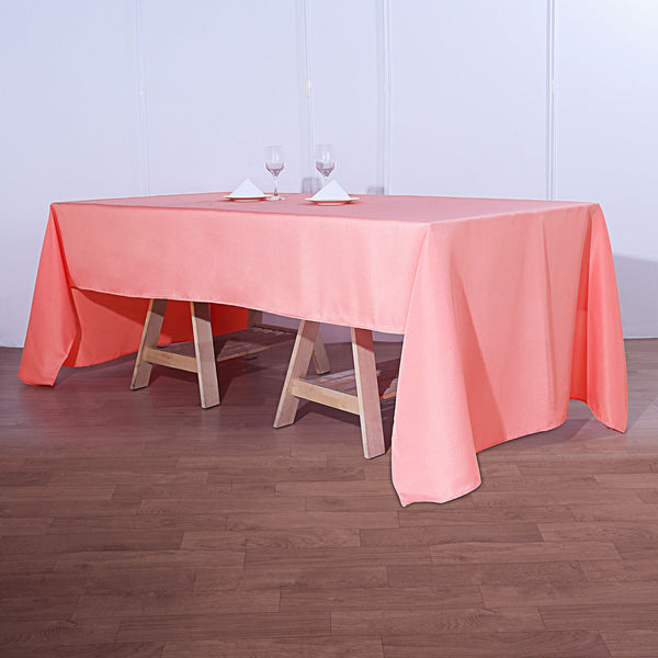"72""x120"" Coral Polyester Rectangular Tablecloth"