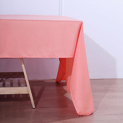 72x120 Coral Polyester Rectangular Tablecloth
