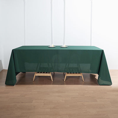 "72""x120"" Hunter Emerald Green Polyester Rectangular Tablecloth"