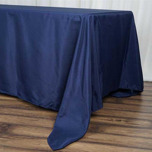 "72x120"" Navy Blue Polyester Rectangular Tablecloth"