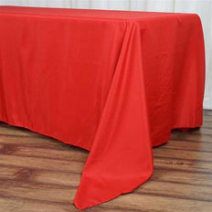 "72""x120"" Red Polyester Rectangular Tablecloth"