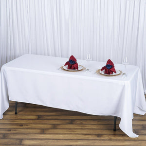 "72x120"" Seamless Premium WHITE Wholesale Polyester Tablecloth For Wedding Banquet Restaurant"