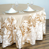 "120"" Champagne Large Rosette Round Lamour Satin Tablecloth"