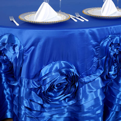 "120"" Royal Blue Large Rosette Round Lamour Satin Tablecloth"