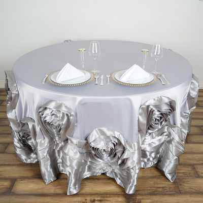 "120"" Silver Large Rosette Round Lamour Satin Tablecloth"