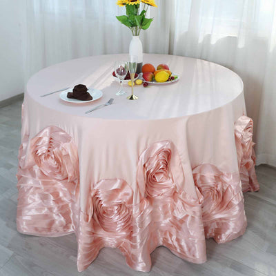 "132"" Blush Large Rosette Round Lamour Satin Tablecloth"