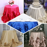 "132"" White Large Rosette Round Lamour Satin Tablecloth"