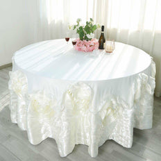 "132"" Ivory Large Rosette Round Lamour Satin Tablecloth"