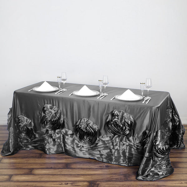 "90""x132"" Charcoal Gray Large Rosette Rectangular Lamour Satin Tablecloth - Clearance SALE"