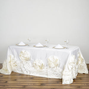 "90""x132"" Ivory Large Rosette Rectangular Lamour Satin Tablecloth"