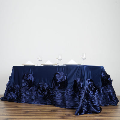 "90""x132"" Navy Blue Large Rosette Rectangular Lamour Satin Tablecloth"