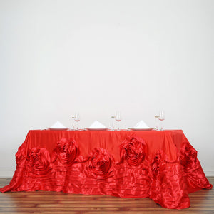 "90""x132"" Red Large Rosette Oblong Rectangular Lamour Satin Tablecloth"