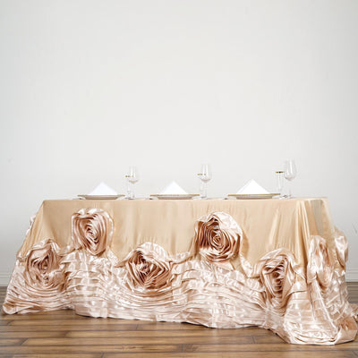 "90""x156"" Champagne Large Rosette Rectangular Lamour Satin Tablecloth"