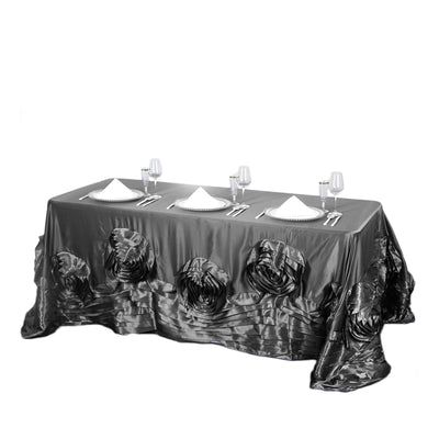 "90""x156"" Charcoal Grey Large Rosette Rectangular Lamour Satin Tablecloth"