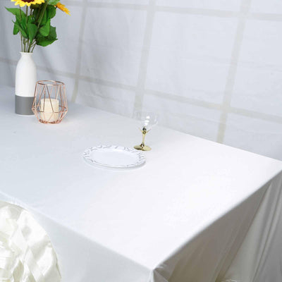 "90""x156"" Ivory Large Rosette Rectangular Lamour Satin Tablecloth"
