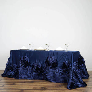 "90""x156"" Navy Blue Large Rosette Rectangular Lamour Satin Tablecloth"