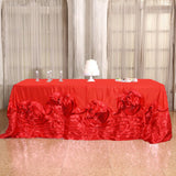 "90""x156"" Red Large Rosette Oblong Rectangular Lamour Satin Tablecloth"