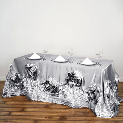 "90""x156"" Silver Large Rosette Rectangular Lamour Satin Tablecloth"