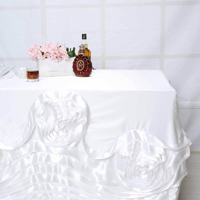 "90""x156"" White Large Rosette Rectangular Lamour Satin Tablecloth"