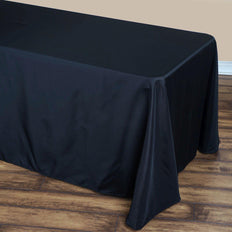 90x132 Black Polyester Round Corner Rectangular Tablecloth