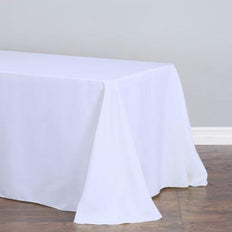90 inch x 132 inch White Polyester Round Corner Rectangular Tablecloth
