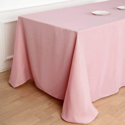 "90""x132"" Rose Quartz Polyester Rectangular Tablecloth - Clearance SALE"