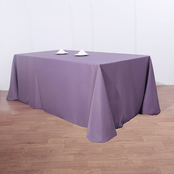 "90""x132"" Violet Amethyst Polyester Rectangular Tablecloth"