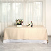 "90x132"" Beige Polyester Rectangular Tablecloth"
