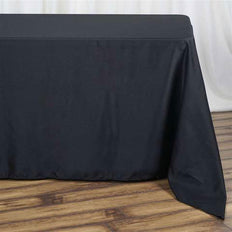 "90""x132"" Black Polyester Rectangular Tablecloth"