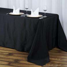 "90x132"" Seamless Premium BLACK Wholesale Polyester Tablecloth For Wedding Banquet Restaurant"