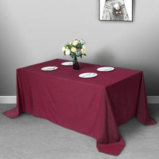 "90""x132"" Burgundy Polyester Rectangular Tablecloth"