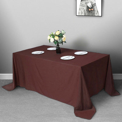 "90""x132"" Chocolate Polyester Rectangular Tablecloth"