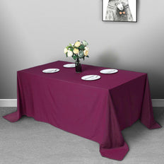 "90""x132"" Eggplant Polyester Rectangular Tablecloth"