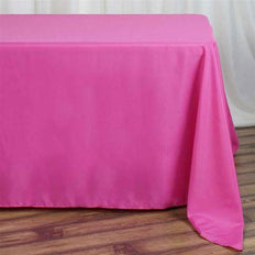 "90""x132"" Fushia Polyester Rectangular Tablecloth"