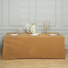 "90x132"" Gold Polyester Rectangular Tablecloth"
