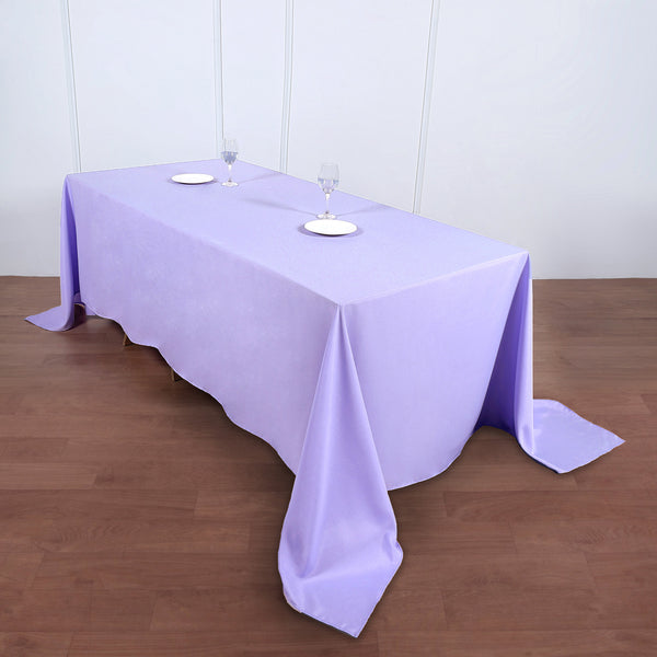 "90""x132"" Lavender Polyester Rectangular Tablecloth"