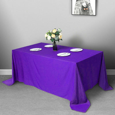 "90""x132"" PURPLE Polyester Rectangular Tablecloth"