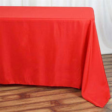 "90""x132"" Red Polyester Rectangular Tablecloth"