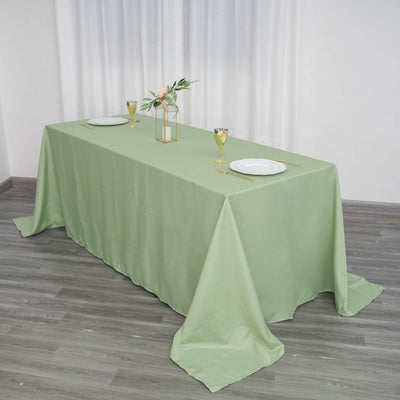 "90""x132"" Sage Green Wholesale Polyester Rectangular Linen Tablecloth"