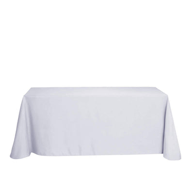 "90""x132"" Silver Polyester Rectangular Tablecloth"