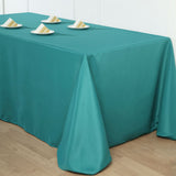 "90""x132"" Teal Polyester Rectangular Tablecloth"